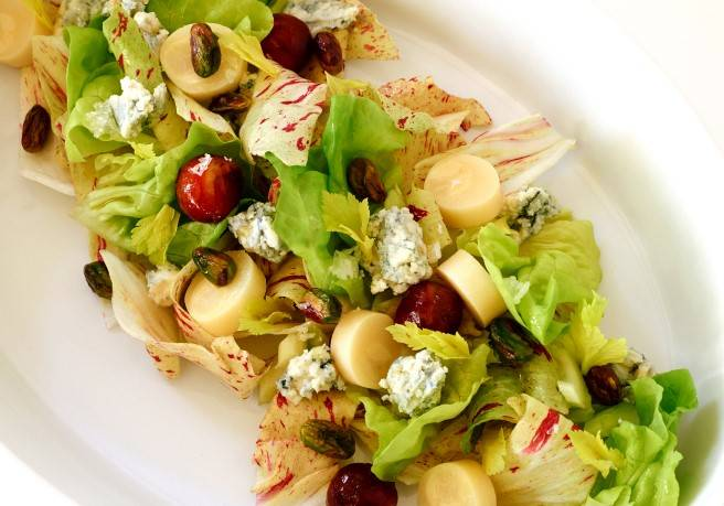Chop salad: made with hearts of peach palm, medjool dates, pistachios, and Roquefort