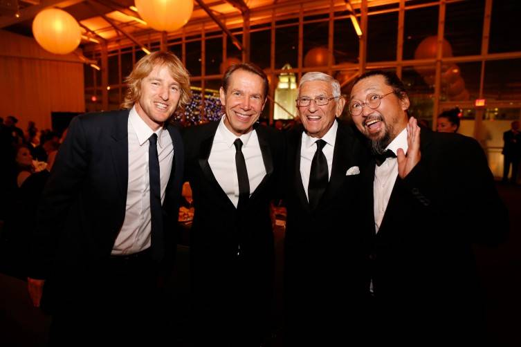 From left, Actor Owen Wilson, Artist Jeff Koons, Founder Eli Broad, and Artist Takashi Murakami pose during the Inaugural Dinner for the opening of The Broad Museum on Thursday, September 17, 2015, in Los Angeles, Calif. (Photo by Nicholas Gingold/Capture Imaging)
