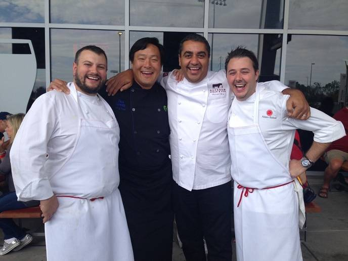 Chefs David Varley, Ming Tsai, Michael Mina and Adam Mesnick at Michael Mina Tailgate 2014