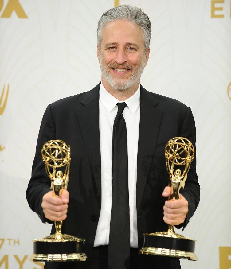 Jon Stewart poses in the press room at the 67th annual Primetime Emmy Awards at Microsoft Theater on September 20