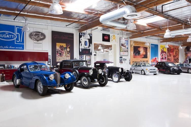 1937 Bugatti Type 57 SC Atlantic, 1932 Bugatti Type 49, 1929 Bugatti Type 40, 1989 Ford Festiva SHOgun + 2013 Fiat Abarth