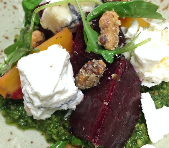Roasted Beets with goat cheese, arugula and parsley-walnut pesto