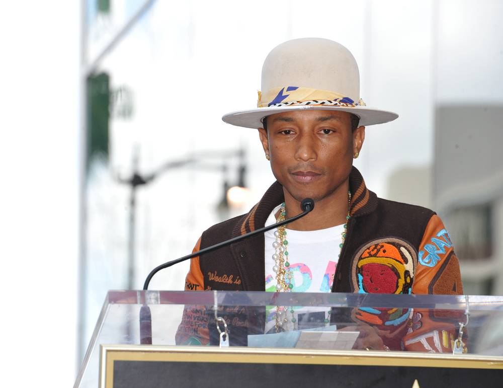 Singer/songwriter Pharrell Williams on Hollywood Boulevard where he was honored with a star on the Hollywood Walk of Fame
