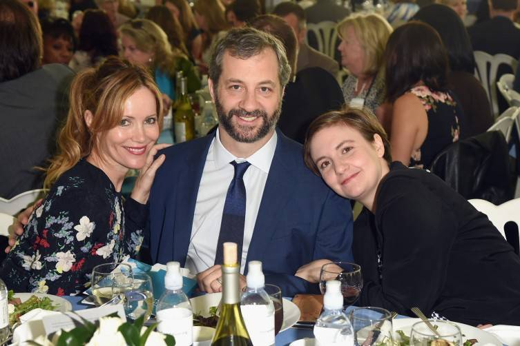 Actress Leslie Mann, honoree Judd Apatow and actress/writer Lena Dunham attend The Rape Foundation's annual brunch at Greenacres, The Private Estate of Ron Burkle on October 4, 2015