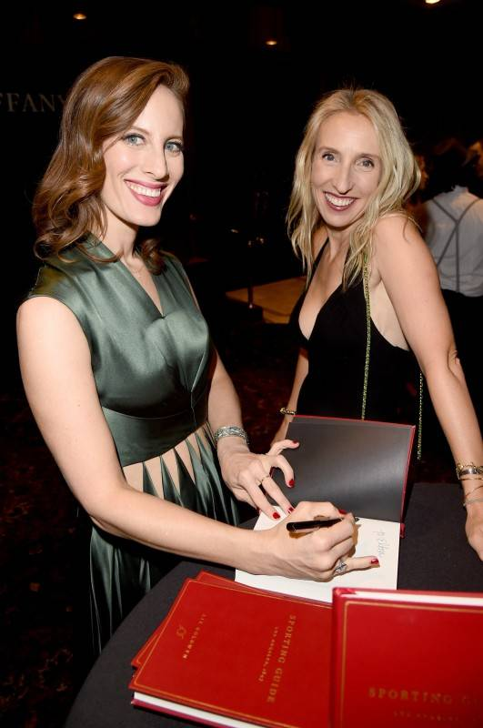 "LOS ANGELES, CA - OCTOBER 09: Filmmaker/author Liz Goldwyn (L) and filmmaker Sam Taylor-Johnson attend the Tiffany & Co. celebration of Liz Goldwyn's ""Sporting Guide"" book launch at The Los Angeles Athletic Club on October 9, 2015 in Los Angeles, California. (Photo by Jason Merritt/Getty Images for Tiffany & co.)"