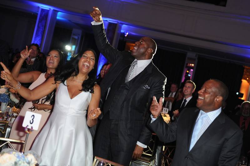 "Earvin ""Magic"" Johnson (C) and Cookie Johnson at Habitat For Humanity of Greater Los Angeles Builders Ball"