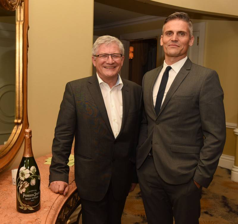 Chief Winemaker at Perrier Jout Herve Deschamps and co-founder of Eric Buterbaugh Florals Fabrice Croise attend the Haute Living And Eric Buterbaugh Florals Celebrate Perrier-Jouet Belle Epoque 2007 Limited Edition at The Beverly Hills Hotel