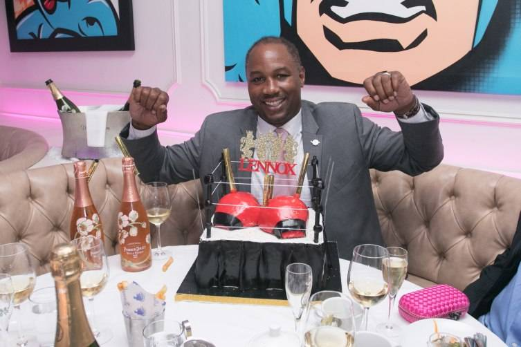 MIAMI BEACH, FL - OCTOBER 15:  Lennox Lewis celebrates his Haute 50th Birthday Celebration Hosted By Haute Time, Audemars Piquet,  And Perrier Jouet at Bagatelle Restaurant on October 15, 2015 in Miami Beach, Florida.  (Photo by John Parra/Getty Images for Haute Living)