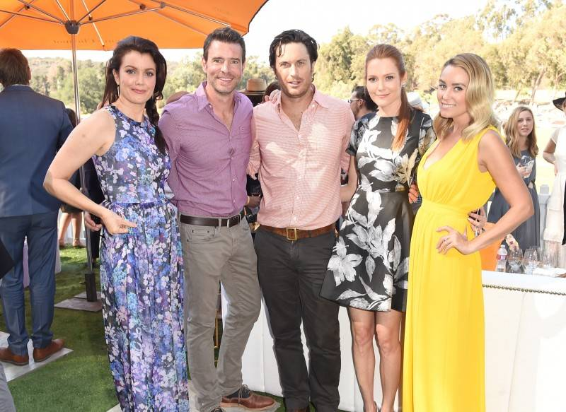 Actors Bellamy Young, Scott Foley, Oliver Hudson, Darby Stanchfield and designer Lauren Conrad attend the Sixth-Annual Veuve Clicquot Polo Classic at Will Rogers State Historic Park