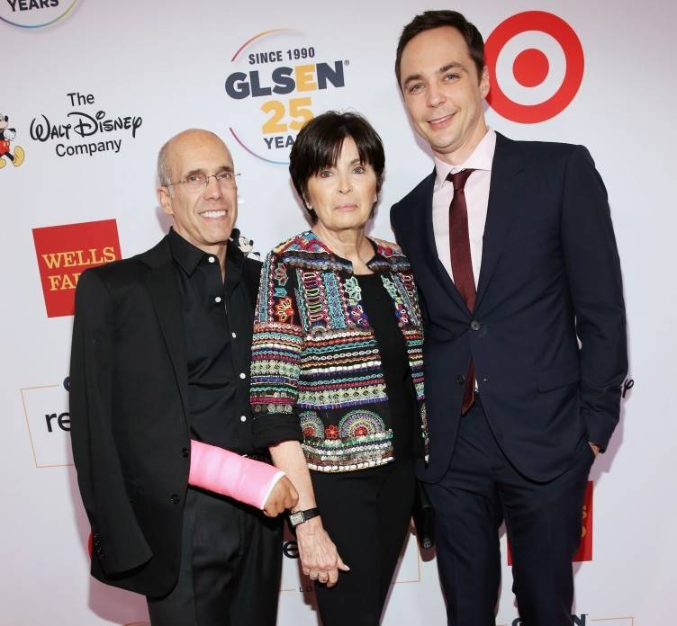 DreamWorks Animation CEO Jeffrey Katzenberg, philanthropist Marilyn Katzenberg and actor Jim Parsons