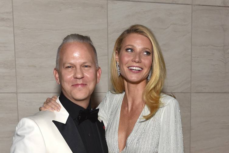 Honoree Ryan Murphy (L) and actress Gwyneth Paltrow wearing Harry Winston at amfAR's Inspiration Gala Los Angeles at Milk Studios on October 29
