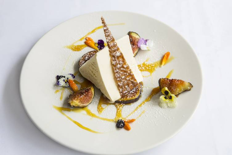 Iced honey parfait, roast figs
