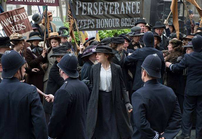 Maud Watts (Carey Mulligan) campaign for women's voting rights in director Sarah Gavron's SUFFRAGETTE, a Focus Features release.