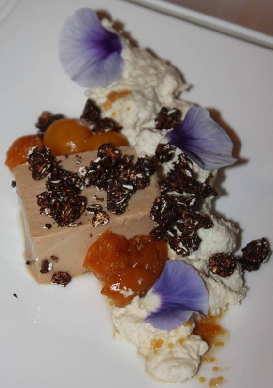 P4. Foie Gras Terrine, Oat Cream, Dark Chocolate Granola, Brioche and Gooseberries