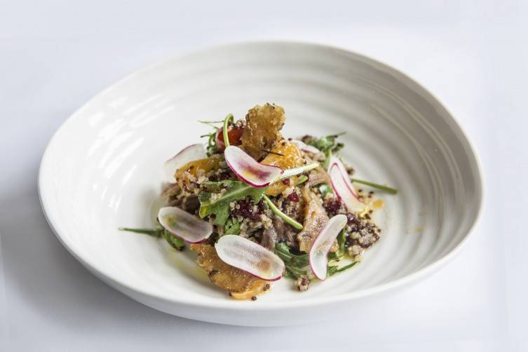 Quinoa-salad-with-warm-confit-of-duck-clementine's-and-dried-fruit