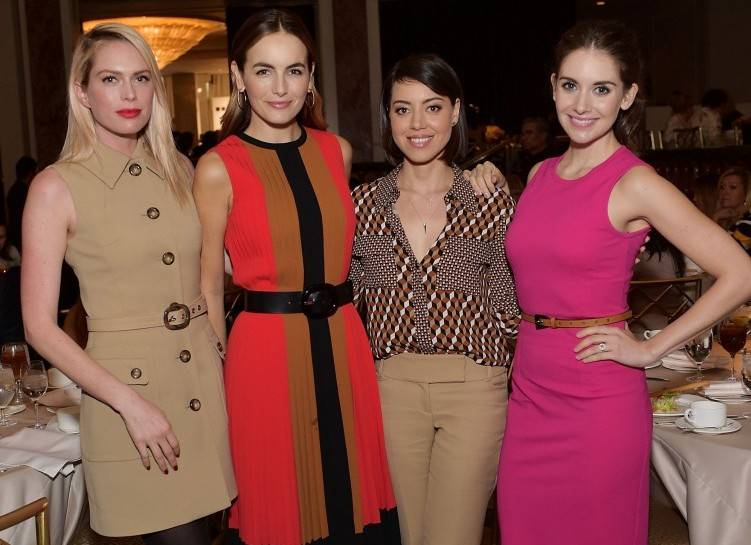 Erin Foster, Camilla Belle, Aubrey Plaza and Alison Brie attend MOCA's 9th Awards To Distinguished Women In The Arts at Regent Beverly Wilshire Hotel on October 28, 2015 in Beverly Hills, California.