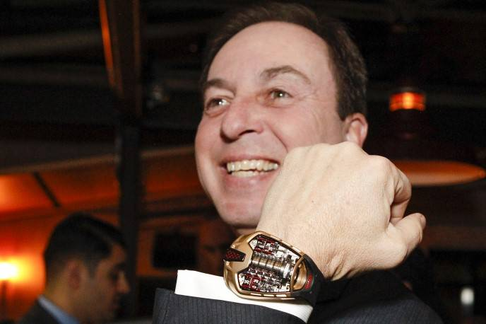 Joe Lacob tries on Hublot's MP-05 LaFerrari Gold