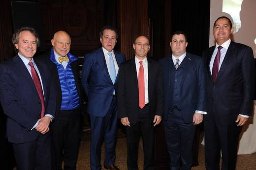 From left to right: William Zeckendorf, Francis Greenburger, Robert Gladstone, Miki Naftali, Michael Stern, and Don Peebles