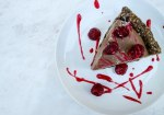 Raw chocolate chip derby with chickpea cookie dough & raspberry coulis