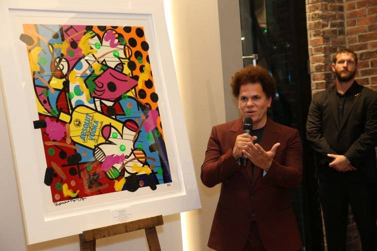 Britto art installation charity event at the Hubolt Galerie boutique in Miami's Design District