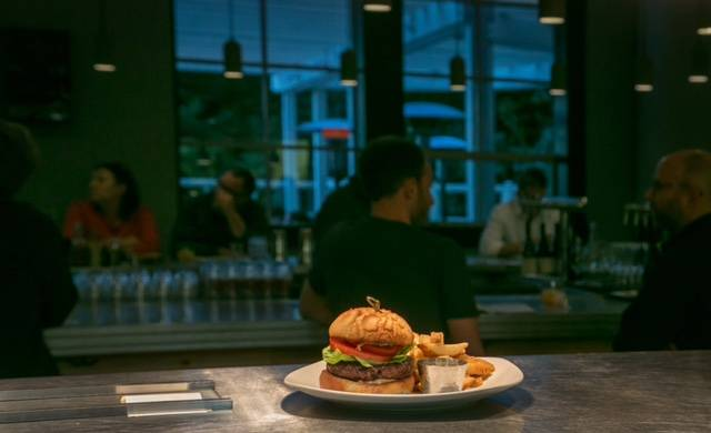 The hamburger at Sessions at the Presidio restaurant in San Francisco, Calif., is seen on Oct. 20, 2015.
