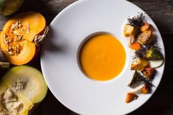 Roasted Kabucha Squash Soup, Purple Mustard Greens & Seville Orange (2)