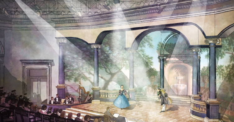 Artist rendering of the Taube Atrium Theater inside the Diane B. Wilsey Center for Opera