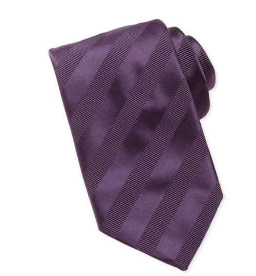 Brioni Textured-Stripe Silk Tie, Purple