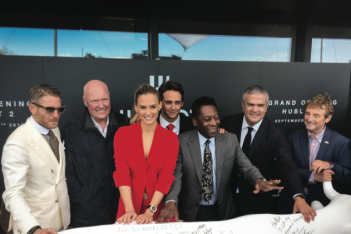 Brand ambassadors Lapo Elkann, Bar Rafaeli and Pele help Jean-Claude Biver and Ricardo Guadalupe launch Hublot 2.