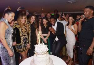 MIAMI, FL - NOVEMBER 21:  (L-R) JR Ridinger, Loren Ridinger,Larsa Pippen, Amber Ridinger, Duane McLaughlin, Eva Longoria, and Jamie Foxx attend Haute Living celebrates Loren Ridinger's birthday at Cipriani Downtown Miami on November 21, 2015 in Miami, Florida.  (Photo by Gustavo Caballero/Getty Images for Haute Living)