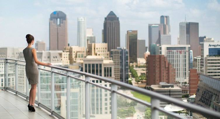 The terraces offer 360 degree views of the Dallas skyline.