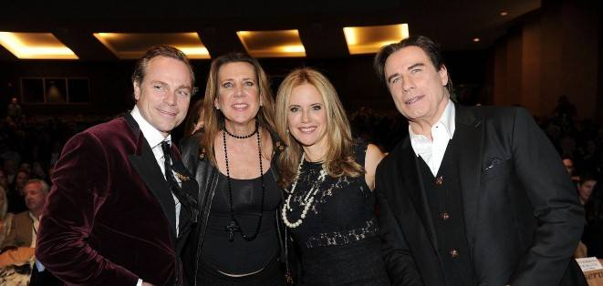Jean-Charles Boisset, Gina Gallo, Kelly Preston, and John Travolta at the Celebrity Tribute event at the 2015 Napa Valley Film Festival at the Lincoln Theatre.