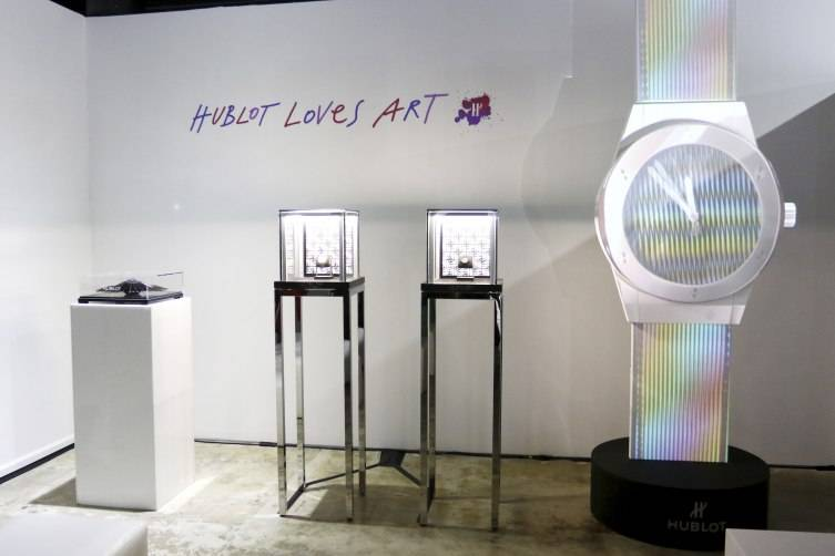 Installation artist Carlos Cruz-Diez's Classic Fusion collection at Espace Expression Gallery on November 30, 2015 in Miami Beach, Florida. (Photo by John Parra/Getty Images for Hublot)