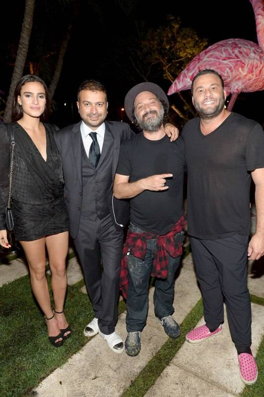 Kamal Hotchandani, Mr. Brainwash and David Grutman attend the Haute Living And Hublot Event At Wayne Boich Residence on December 4, 2015 in Miami, Florida. (Photo by Gustavo Caballero/Getty Images for Haute Living)