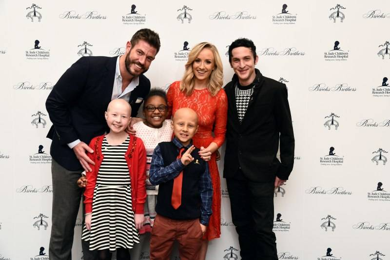 NEW YORK, NY - DECEMBER 16: (L-R) Jesse Palmer, Nastia Liukin and Robin Taylor pose with St. Jude's patient children Kenlie, Marcelle and Sebastian at Brooks Brothers holiday celebration with St. Jude Children's Research Hospital Brooks Brothers Madison Avenue Flagship on December 16, 2015 in New York City. (Photo by Ilya S. Savenok/Getty Images for Brooks Brothers)