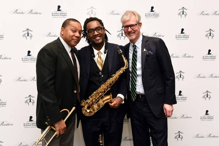 NEW YORK, NY - DECEMBER 16:  Wynton Marsalis (L) and Claudio Del Vecchio, Chairman and CEO, Brooks Brothers (R) attend Brooks Brothers holiday celebration with St. Jude Children's Research Hospital Brooks Brothers Madison Avenue Flagship on December 16, 2015 in New York City.  (Photo by Ilya S. Savenok/Getty Images for Brooks Brothers)