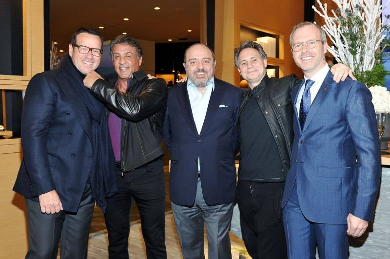 BEVERLY HILLS, CA - DECEMBER 09: (L-R) Audemars Piguet Global CEO, Francois-Henry Bennahmias, actor Sylvester Stallone, Westime founder John Simonian, and CEO of Audemars Piguet North America, Xavier Nolot attend Audemars Piguet Celebrates the opening of Audemars Piguet Rodeo Drive at Audemars Piguet on December 9, 2015 in Beverly Hills, California. (Photo by Donato Sardella/Getty Images for Audemars Piguet)