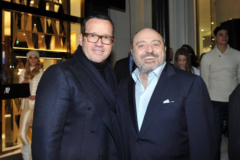 BEVERLY HILLS, CA - DECEMBER 09: Audemars Piguet Global CEO, Francois-Henry Bennahmias and Westime founder John Simonian attend Audemars Piguet Celebrates the opening of Audemars Piguet Rodeo Drive at Audemars Piguet on December 9, 2015 in Beverly Hills, California. (Photo by Donato Sardella/Getty Images for Audemars Piguet)
