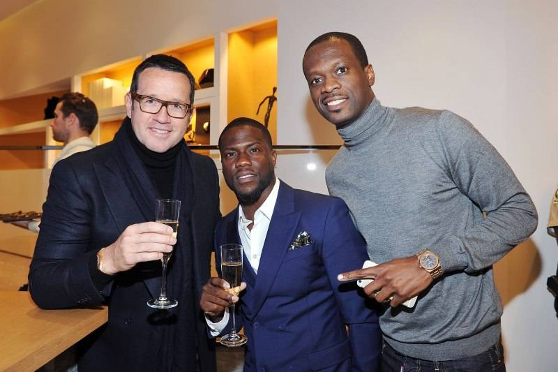 BEVERLY HILLS, CA - DECEMBER 09: Global CEO of Audemars Piguet Francois-Henry Bennahmias, actor Kevin Hart and rapper Pras Michel attend Audemars Piguet Celebrates the opening of Audemars Piguet Rodeo Drive at Audemars Piguet on December 9, 2015 in Beverly Hills, California. (Photo by Donato Sardella/Getty Images for Audemars Piguet)