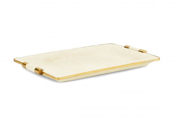 Cream Shagreen small desk tray