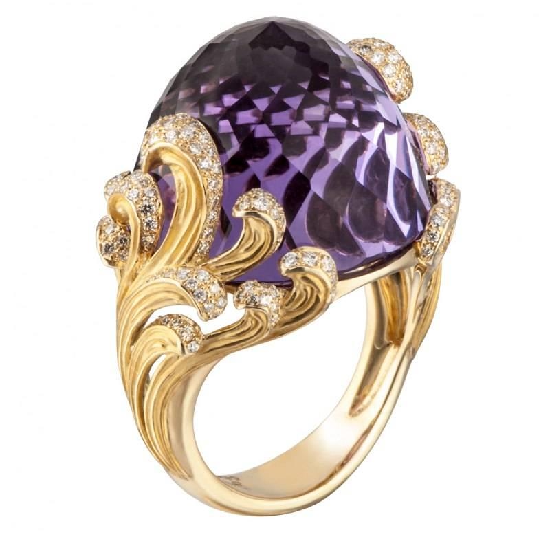 DA14053 011018 Origen ring in yelllow gold, amethyst with diamonds