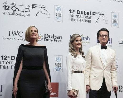 Hinde Boujemaa and Emirati Director Ali Mostafa and his wife attend the Opening Night Gala of 'Room' during day one of the 12th annual Dubai International Film Festival.