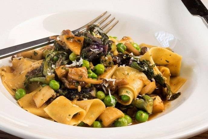Pappardelle with pork cheeks, peas, kale, brown beech mushrooms and tarragon