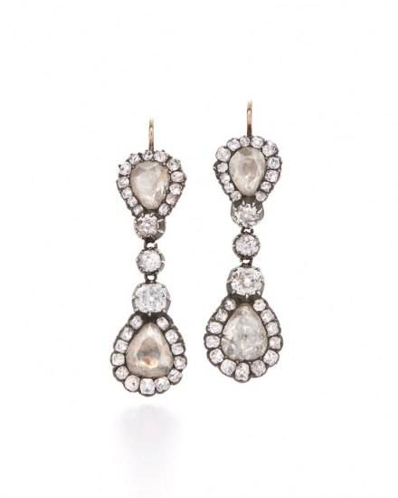 Fred Leighton_Antique Rose-Cut Diamond Drop Earrings_$45000