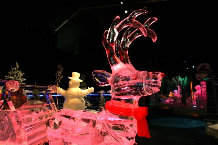 The sculptures are awe inspiring -- everything is made of ice.