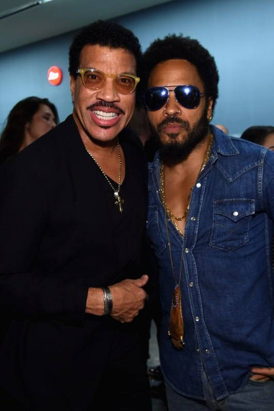 MIAMI, FL - DECEMBER 01: Lionel Richie and Lenny Kravitz attend the Opening of Lenny Kravitz FLASH Photography Exhibition at Miami Design District on December 1, 2015 in Miami, Florida. (Photo by Jamie McCarthy/Getty Images for Forbes PR)