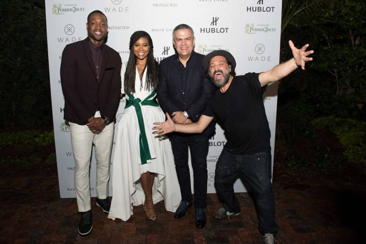 Gabrielle Union,Dwyane Wade; Hublot's CEO Ricardo Guadalupe and Artist Ambassador Mr. Brainwash at Hublot & Haute Living Toast Art Basel with Private Dinner hosted by Dwyane Wade & Gabrielle Union on December 4, 2015 in Miami Beach, Florida. (Photo by Bobby Metelus/Getty Images) *** Local Caption *** Gabrielle Union;Dwyane Wade; Ricardo Guadalupe;Mr. Brainwash