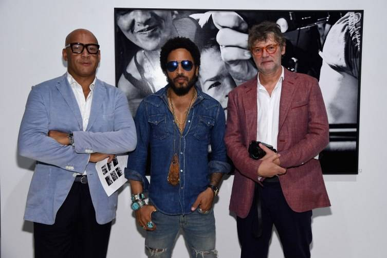 Reiner Opoku, Lenny Kravitz and Peter Coelm attend the Opening of Lenny Kravitz FLASH Photography Exhibition at Miami Design District on December 1, 2015 in Miami, Florida. (Photo by Jamie McCarthy/Getty Images for Forbes PR)