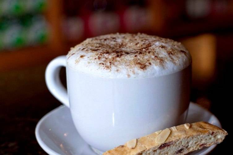 The creamy coffee and biscotti are perfect anytime.