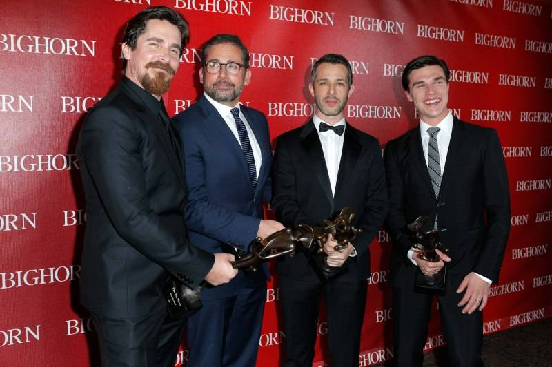 "Christian Bale, Steve Carell, Jeremy Strong and Finn Wittrock pose with the Ensemble Performance Award for ""The Big Short"" during the 27th Annual Palm Springs International Film Festival"